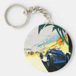 Monaco Grand Prix Car Race Travel Art Basic Round Button Key Ring