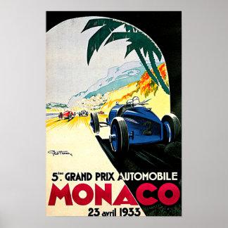 Monaco Grand Prix Car Race Travel Art Poster