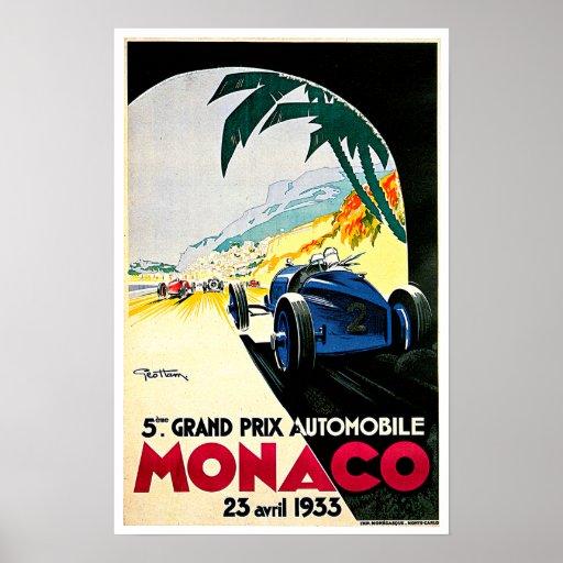 Monaco Grand Prix Car Race Travel Art Posters