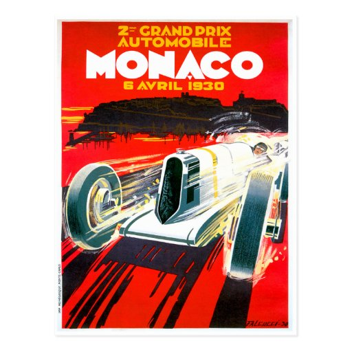 Monaco Grand Prix Race~ Vintage Automobile Ad Postcard