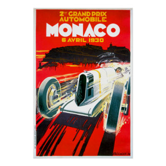 Monaco Grand Prix Race~ Vintage Automobile Ad Poster