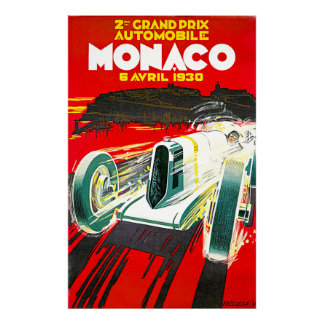 Monaco Grand Prix Vintage Advertising Poster