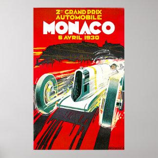 Monaco Grand Prix Vintage Advertising Poster