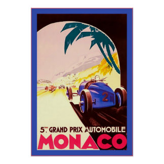 Monaco ~ Grand Prix ~Vintage Travel Poster