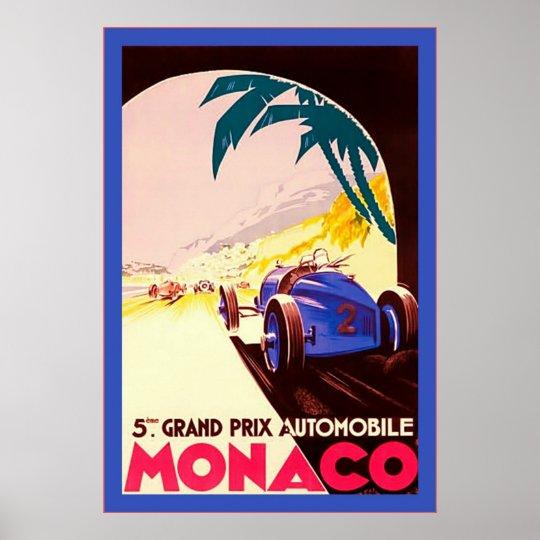 Monaco ~ Grand Prix ~Vintage Travel Poster