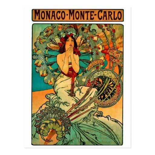 Monaco Monte Carlo Art Nouveau Post Card