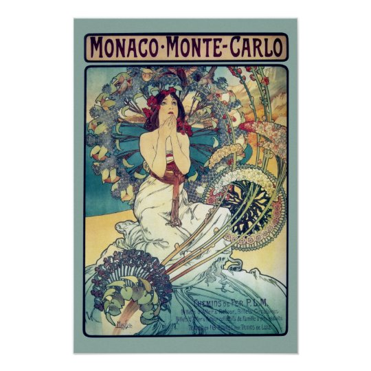 Monaco Monte-Carlo (Teal - muted colours) Poster