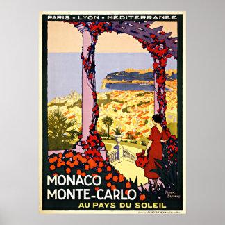 Monaco Monte Carlo Vintage Travel Poster