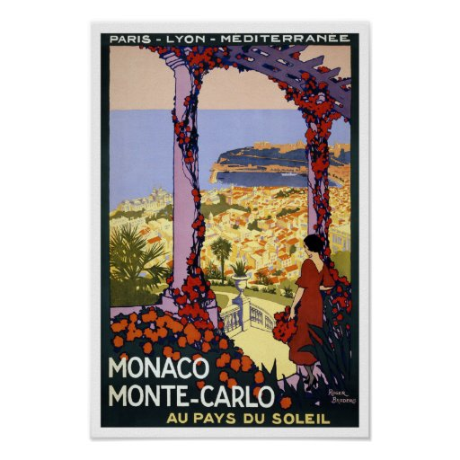Monaco Monte Carlo Vintage Travel Print