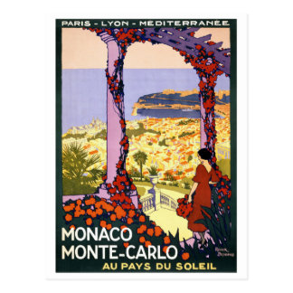 Monaco. Monte-Carlo Vintage Travel Poster Restored Postcard