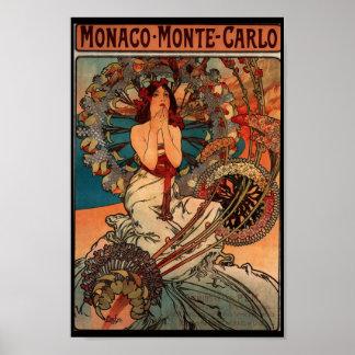 Monaco Monte Carlo Vitnage Poster Print