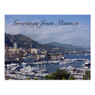 monaco port greetings postcard