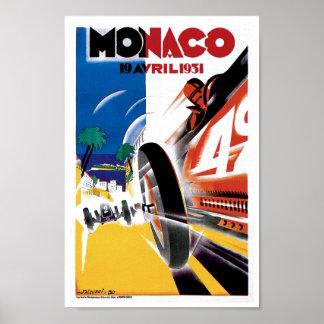 Monaco Race Car Vintage Art Print Poster