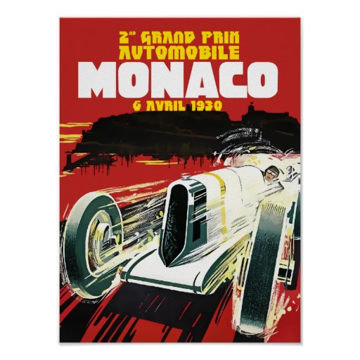 Monaco Racing Cars Vintage Poster