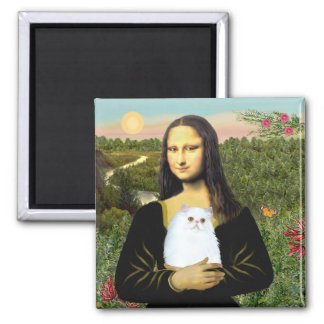 MonaLisa - White Persian kitten #49 Square Magnet