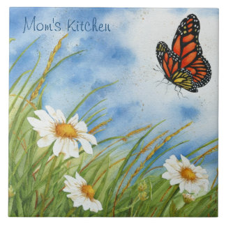 Monarch and Daisies - Customizable Tile