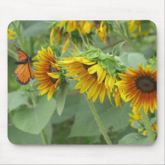 Monarch and Sunflowers Mouse Mat
