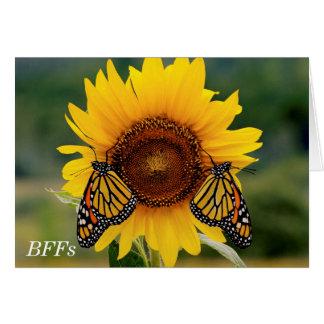 Monarch Butterfies on Sunflower Card