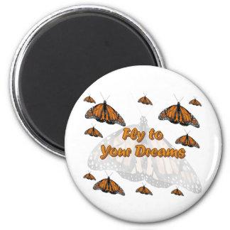 Monarch Butterflies 6 Cm Round Magnet