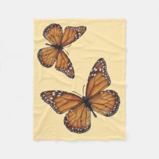 Monarch Butterflies on Peach Fleece Blanket