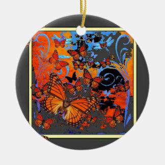 Monarch Butterflies Stormy Weather Art Round Ceramic Decoration