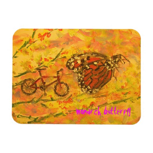 monarch butterfly and bicycle art rectangle magnets