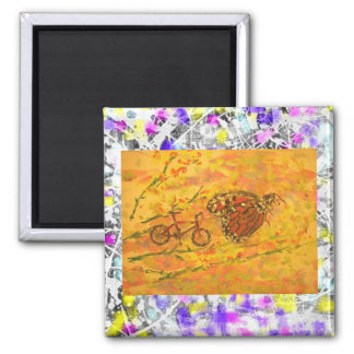 monarch butterfly and bicycle drip square magnet