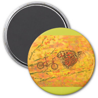 monarch butterfly and bicycle 7.5 cm round magnet