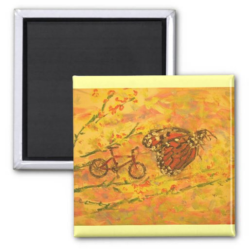 monarch butterfly and bicycle magnet