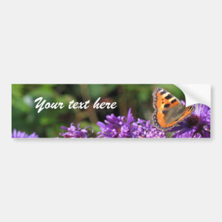 Monarch butterfly and purple flowers bumper sticker