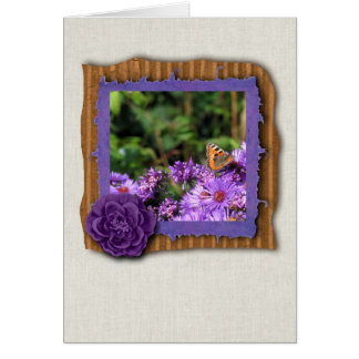 Monarch butterfly and purple flowers card