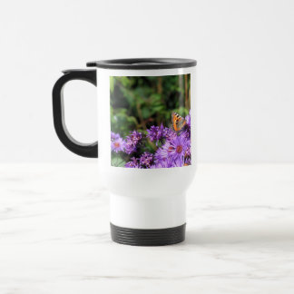 Monarch butterfly and purple flowers mugs