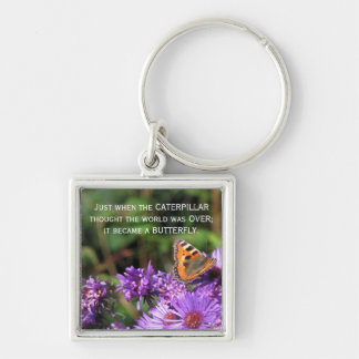Monarch butterfly and purple flowers Silver-Colored square key ring