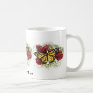 Monarch Butterfly and Red Roses Cup