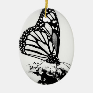 Monarch Butterfly, Black and White - Christmas Ornament