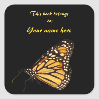 Monarch Butterfly Bookplate Square Sticker