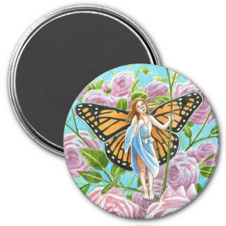 Monarch Butterfly Fairy amongst the Roses 7.5 Cm Round Magnet