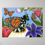 Monarch Butterfly Fairy Cat Fantasy Art Poster