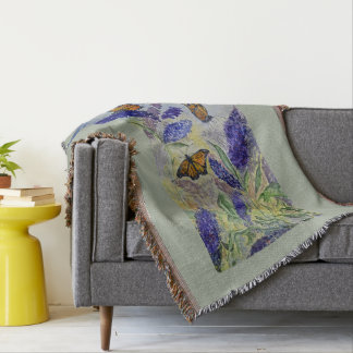 Monarch Butterfly Floral Watercolor Throw Blanket