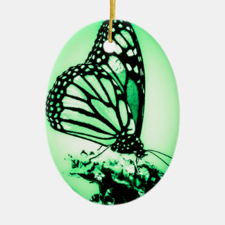 Monarch Butterfly, Green Christmas Ornament