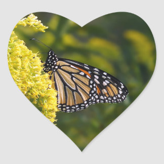 Monarch Butterfly Heart Shaped Sticker