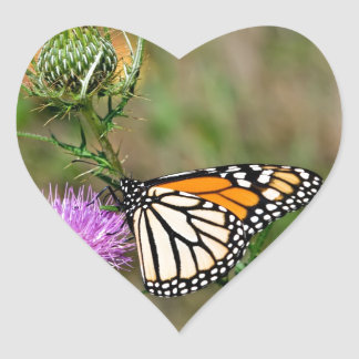Monarch Butterfly Heart Sticker