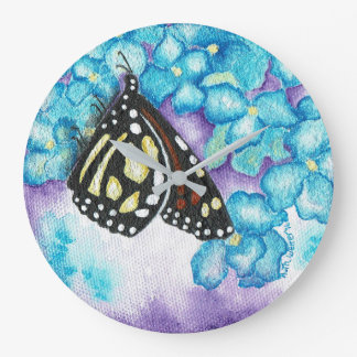 Monarch Butterfly & Hydrangea Round Wall Clock