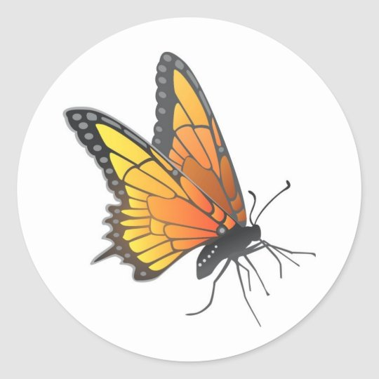 Monarch Butterfly in Flight Classic Round Sticker