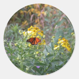 Monarch Butterfly in the Garden Round Stickers