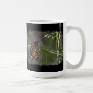 Monarch Butterfly in the Grass Black Border Coffee Mug