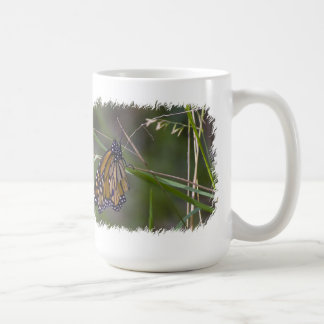 Monarch Butterfly in the Grass White Border Coffee Mug