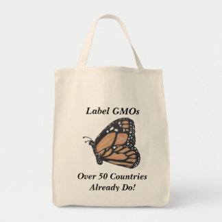 """Monarch Butterfly """"Label GMOs"""" Grocery Bag"""