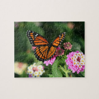 Monarch Butterfly, Lantana Flowers.Puzzle Jigsaw Puzzle