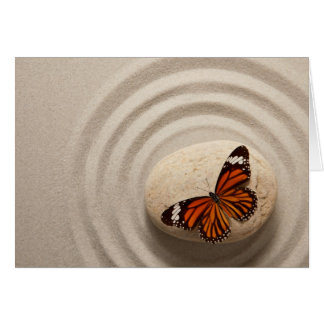 Monarch Butterfly on a Stone in a Zen Garden Card
